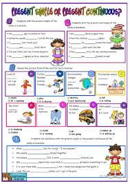 81 free esl present simple vs present continuous worksheets
