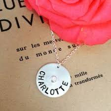Mothers Necklace With Children S Names Personalized Sterling Silver Hand Stamped Name Tag Charm Necklace