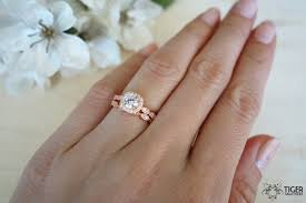 silver engagement ring gold wedding band 3 4 carat halo wedding set deco vintage bridal rings made