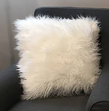 Mongolian Lamb Cushion Cynthia Rowley Mongolian Lamb Wool Faux Fur Ivory Throw Pillows 18