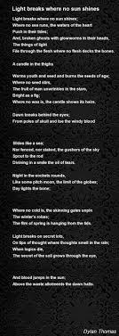 light breaks where no sun shines poem by poem