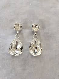 wedding earrings drop swarovski large tear drop earrings the
