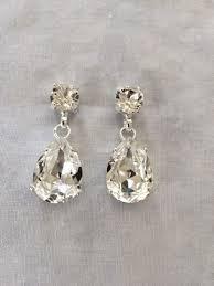 wedding earrings drop swarovski large tear drop earrings the