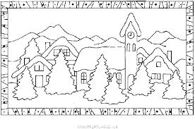 coloriage Chalets et maisons de noel et montagne gratuit 9911  Noel