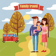 family travel characters dad mom and daughter country bus for