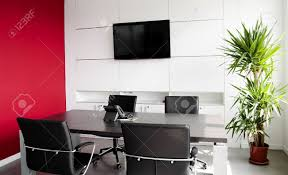 Pictures For Office Walls by Interior Office Building With Furniture And A Red Wall Stock Photo