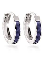 hoop huggie sapphire huggie earrings 1 3ctw in 9ct white gold 1056w qp