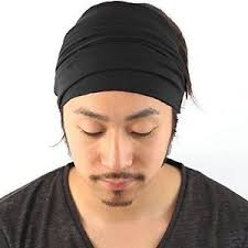 men headband black elastic headband bandana men women japanese hair dreads