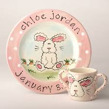 personalized baby plate sweet bunny personalized baby plate birth announcement plate from