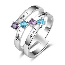 family ring 4 diagonal gems mothers family ring or grandmothers ring
