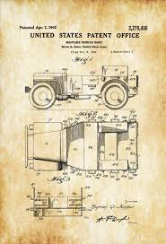 ww2 jeep drawing willys military jeep patent patent print wall decor automobile