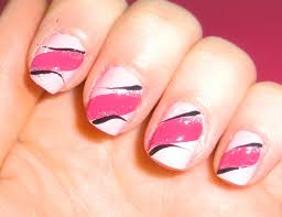 easy pink nail art design 4 short nails beginners youtube
