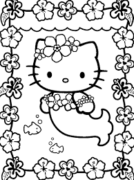 mermaid hello kitty coloring pages free printable coloring pages