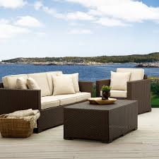 White Wicker Patio Furniture Furniture Comfy White Wicker Sofas With Fluffy Pillows And