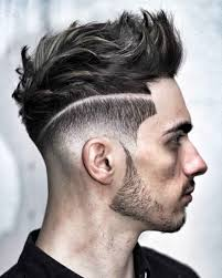 undercut dictionary quiff hairstyle with line color