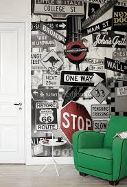 170 best photo wallpaper images on pinterest wallpaper photo street signs mural mr perswall wallpapers a fun photo montage of road signs with some quirky additions available in 3 colours shown in the black and