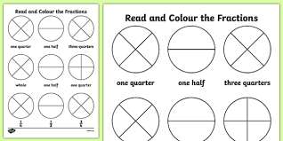 year 1 read and colour a fraction activity sheet fractions