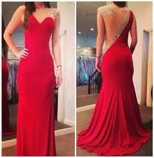 the elegant red long mermaid prom dress wedding party dress