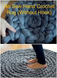 Diy Rug No Sew Hand Crochet Rug Without Hook Video
