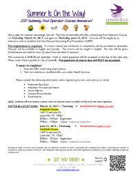swimming pool operator training course calendar meeting list