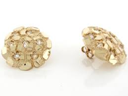 real gold earrings real gold 2cm nugget diamond cut cz unisex earring jl 3703