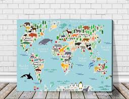 Prints For Kids Rooms by Animals World Map Canvas Prints For Children And Kids Room World