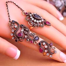 fingers rings design images Vintage flowered two finger rings turkish design don shopping jpg