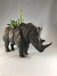 animal planter animal planter rhinoceros naominickersonceramics