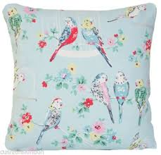cath kidston blue budgies cushion cover parrots pillow case fabric