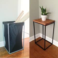 ikea charging station hack diy side table from old ikea laundry hamper the clever bunny