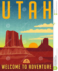 Utah travel state images Retro illustrated travel poster for utah stock photo image 58592780 jpg