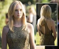 vire diaries hairstyles caroline carolines gold lace dress 600x500 hair stuff pinterest gold