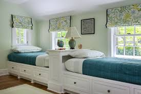 Shabby Chic Twin Bed by White Stained Wooden Twin Bed For Twin Boys With Storage Drawers