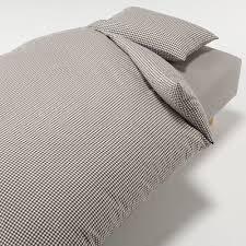 wash cotton duvet cover brown check q 210 x210cm