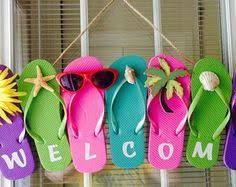 flip flop wreath flip flop welcome sign iron on embroidered letters