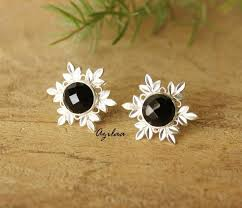 earrings online india artisan black onyx gemstone silver post earrings online in india
