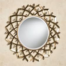 Circle Wall Mirrors Madigan Jeweled Metal Round Wall Mirror