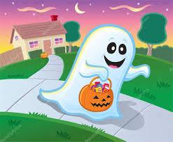 ghost trick or treating in a neighborhood on halloween u2014 stock
