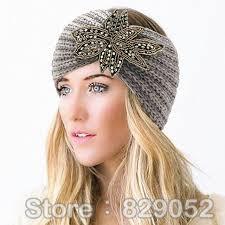 knitted headband bohemian beaded wool knitted headband for women flower turban