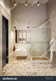 rustic provence loft bathroom shower wc stock illustration