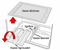 where is the pilot light on a gas oven exle of an oven bottom panel and burner flame spreader stuff