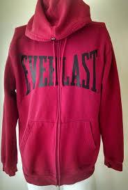 everlast red black full zip hoodie jacket warm up athletic boxing