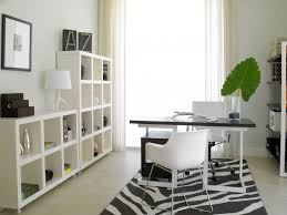 cute white office decorated with cubby shelves and green indoor