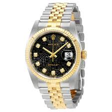 golden ferrari with diamonds rolex oyster perpetual datejust 36 black set with diamonds dial