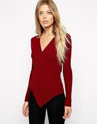 wrap sweater top asos asos wrap sweater in rib