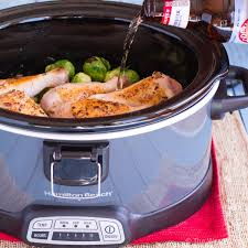 thanksgiving dinner in a crock pot slow cooker brussel sprouts recipe with bacon and chicken the