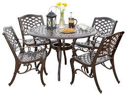 Aluminum Dining Room Chairs Covington Outdoor Cast Aluminum Dining 5 Piece Set Traditional