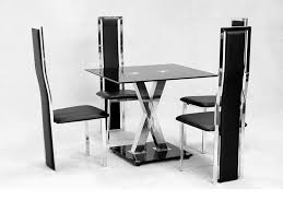 Black Glass Dining Table And 4 Chairs Square Glass Dining Table X Chrome And 4 Faux Chairs Homegenies