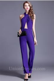 formal jumpsuits for halter cut out purple jersey formal occasion evening jumpsuit