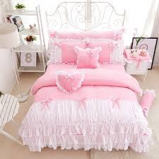 Princess Bedroom Set For Sale 3 4pcs Cotton Pink Princess Bedding Set Lace Edge Solid Pink And